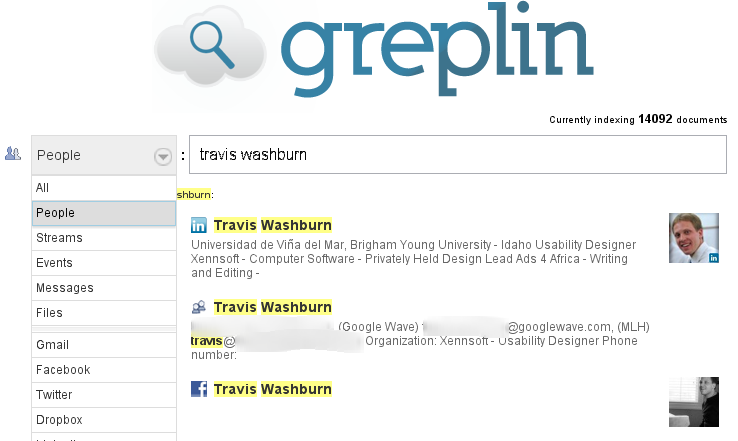 Greplin: search for people