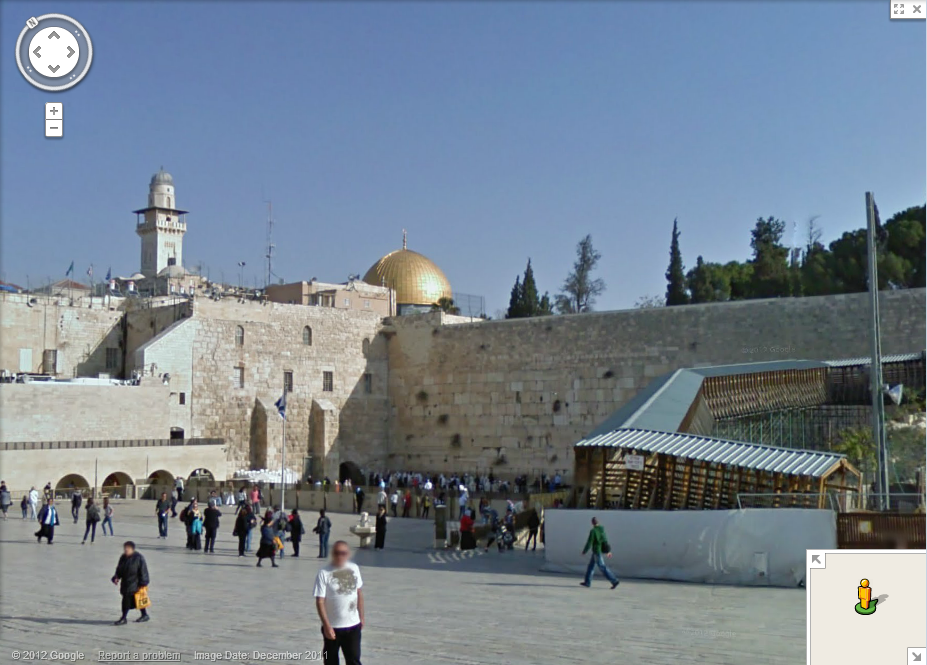The Wailing Wall and Dome of the Rock - Google Maps street view