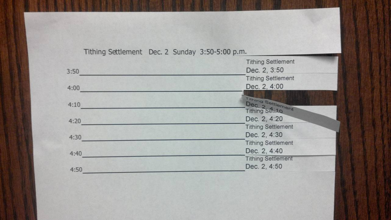 Tithing Settlement tear-off scheduling