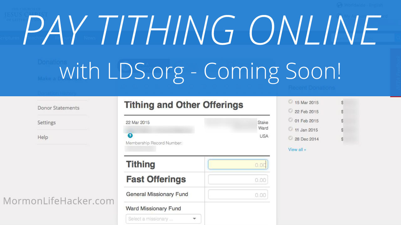 Pay Your Tithing Online with LDS.org – Coming Soon!
