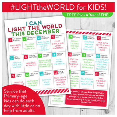 FREE DOWNLOAD // LDS LIGHT the WORLD Service Calendar for Kids!